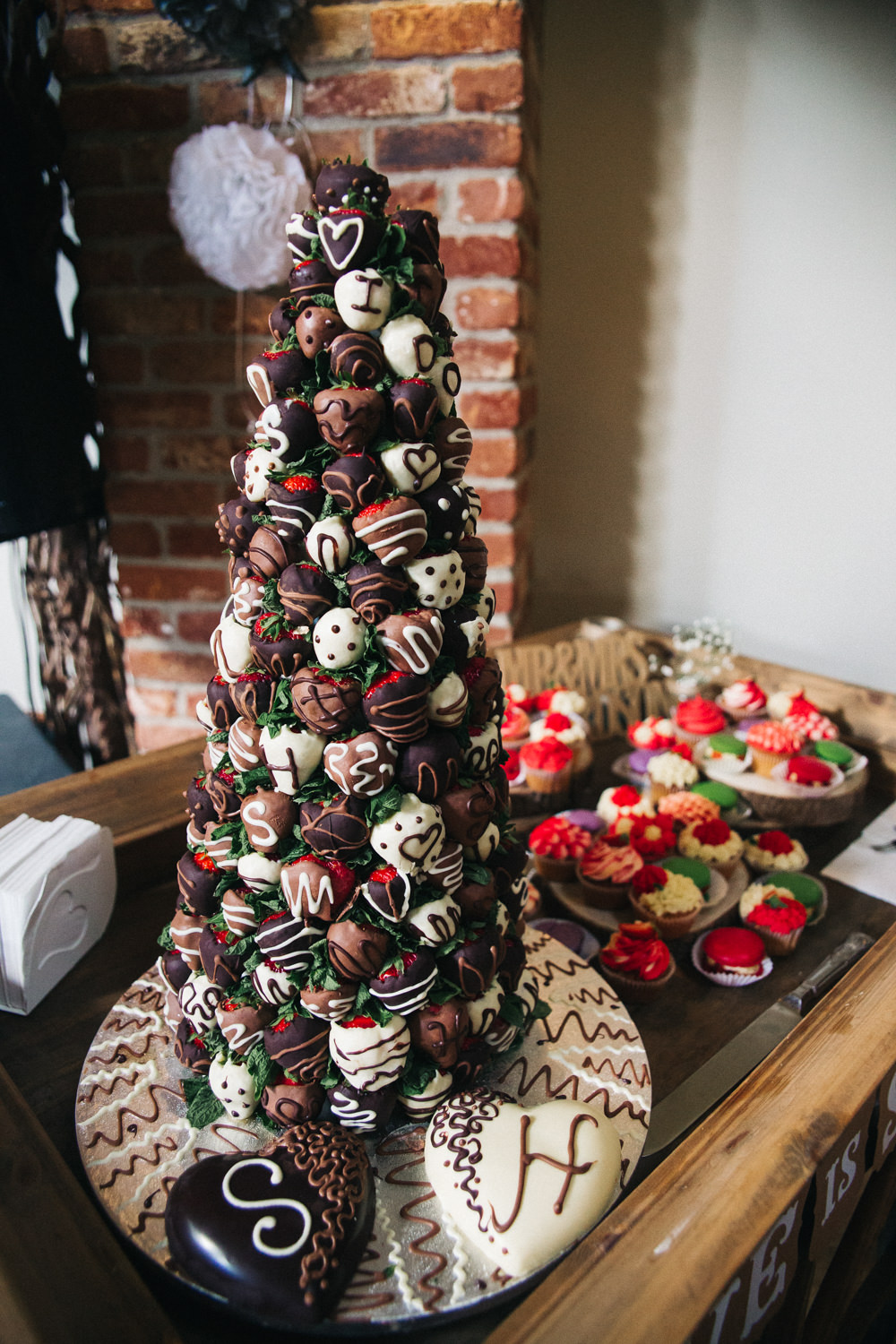 Strawberries Chocolate Tower Cake Wray's Barn Whinstone View Wedding Sally T Photography