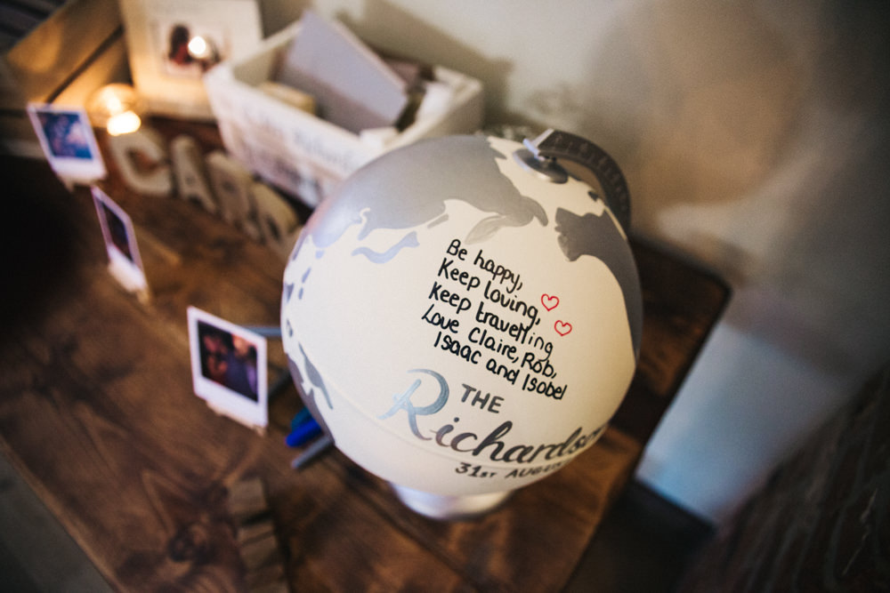 Guest Book Globe Travelling Wray's Barn Whinstone View Wedding Sally T Photography