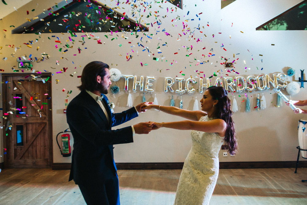 Confetti Cannon First Dance Bride Groom Wray's Barn Whinstone View Wedding Sally T Photography