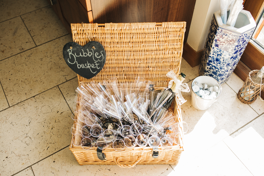 Bubbles Basket Drinks Bottle Glasses Wray's Barn Whinstone View Wedding Sally T Photography