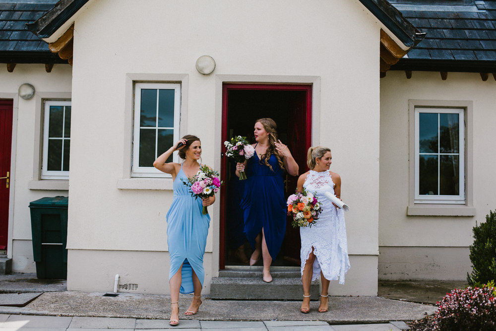 Bride Bridal Grace Loves Lace Dress Halter Neck Long Train Short Front Asymmetric Blue Bridesmaids Multicoloured Bouquet Anna Carriga Wedding Honey and the Moon Photography
