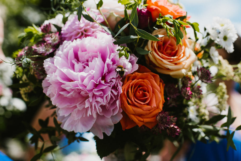 Multicoloured Bouquet Peony Peach Rose Bride Bridal Anna Carriga Wedding Honey and the Moon Photography