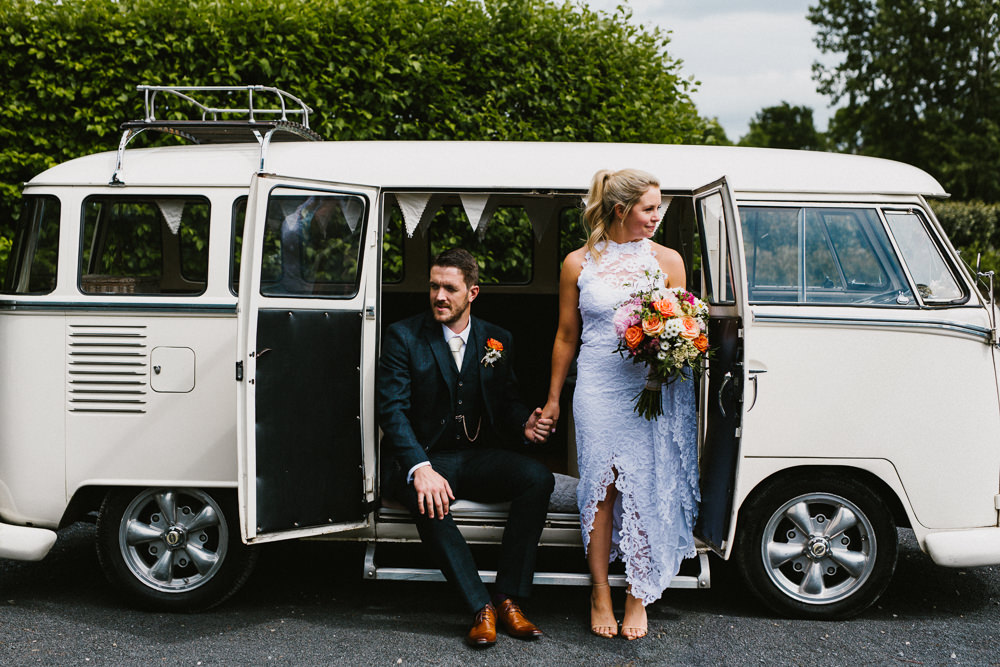 Bride Bridal Grace Loves Lace Dress Halter Neck Long Train Short Front Asymmetric Three Piece Navy Suit Groom Multicoloured Bouquet VW Campervan Anna Carriga Wedding Honey and the Moon Photography