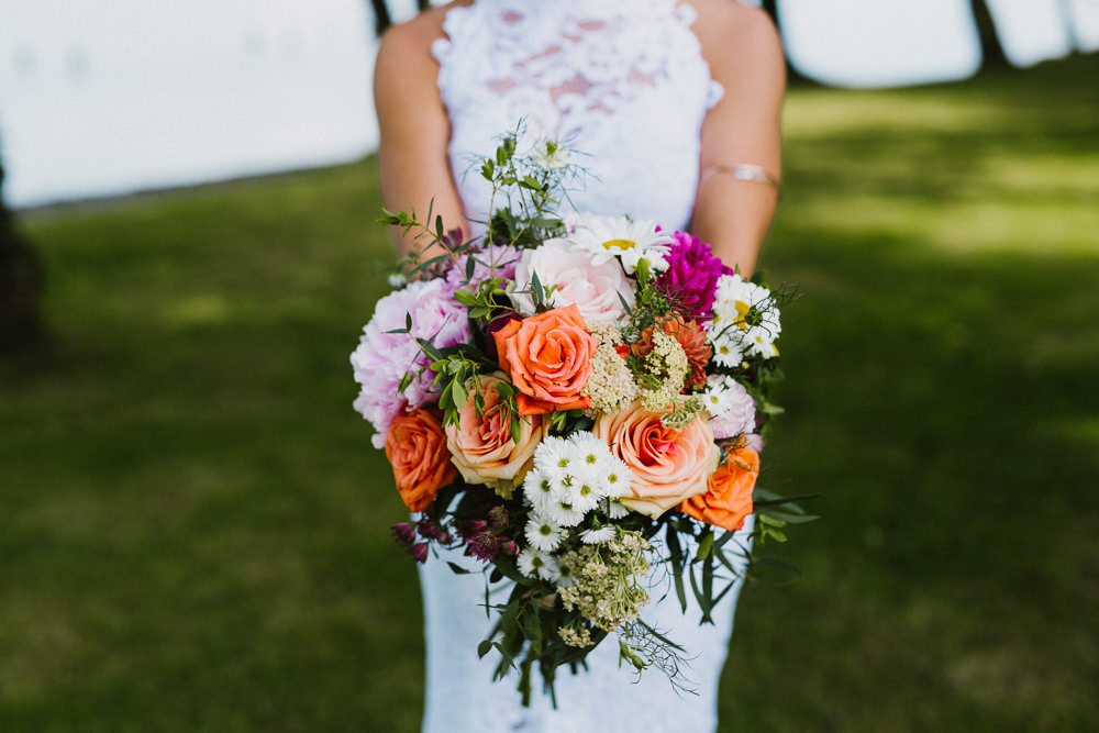 Bride Bridal Bouquet Orange Peach Rose Peony Multicoloured Anna Carriga Wedding Honey and the Moon Photography