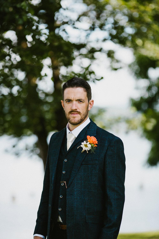 Groom Three Piece Tweed Suit Navy Anna Carriga Wedding Honey and the Moon Photography
