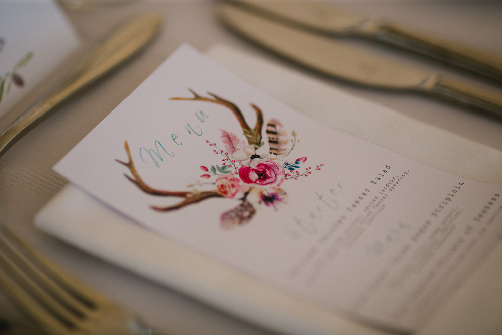 Menu Stationery Illustration Antlers Calligraphy Anna Carriga Wedding Honey and the Moon Photography