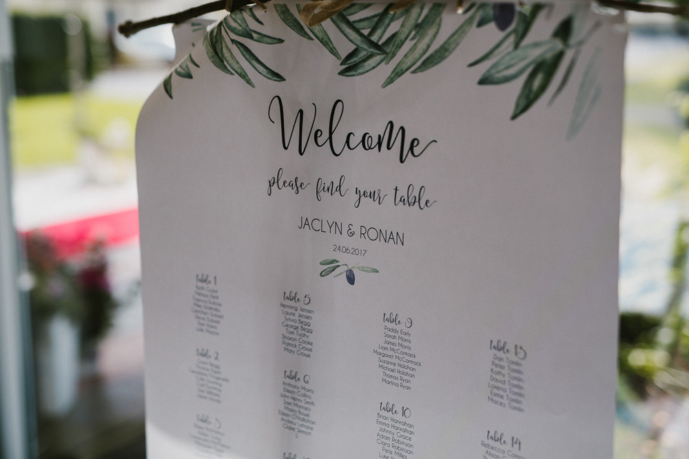 Table Plan Seating Chart Greenery Foliage Modern Calligraphy Anna Carriga Wedding Honey and the Moon Photography