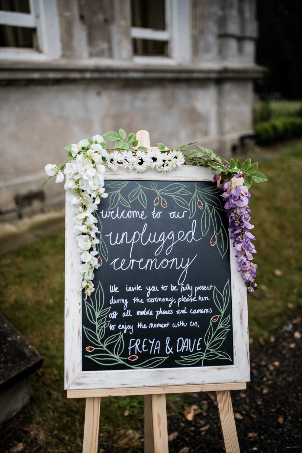 Welcome Sign Frame Chalk Black Board Flowers Calligraphy Unplugged Ceremony Cleatham Hall Wedding Kazooieloki Photography