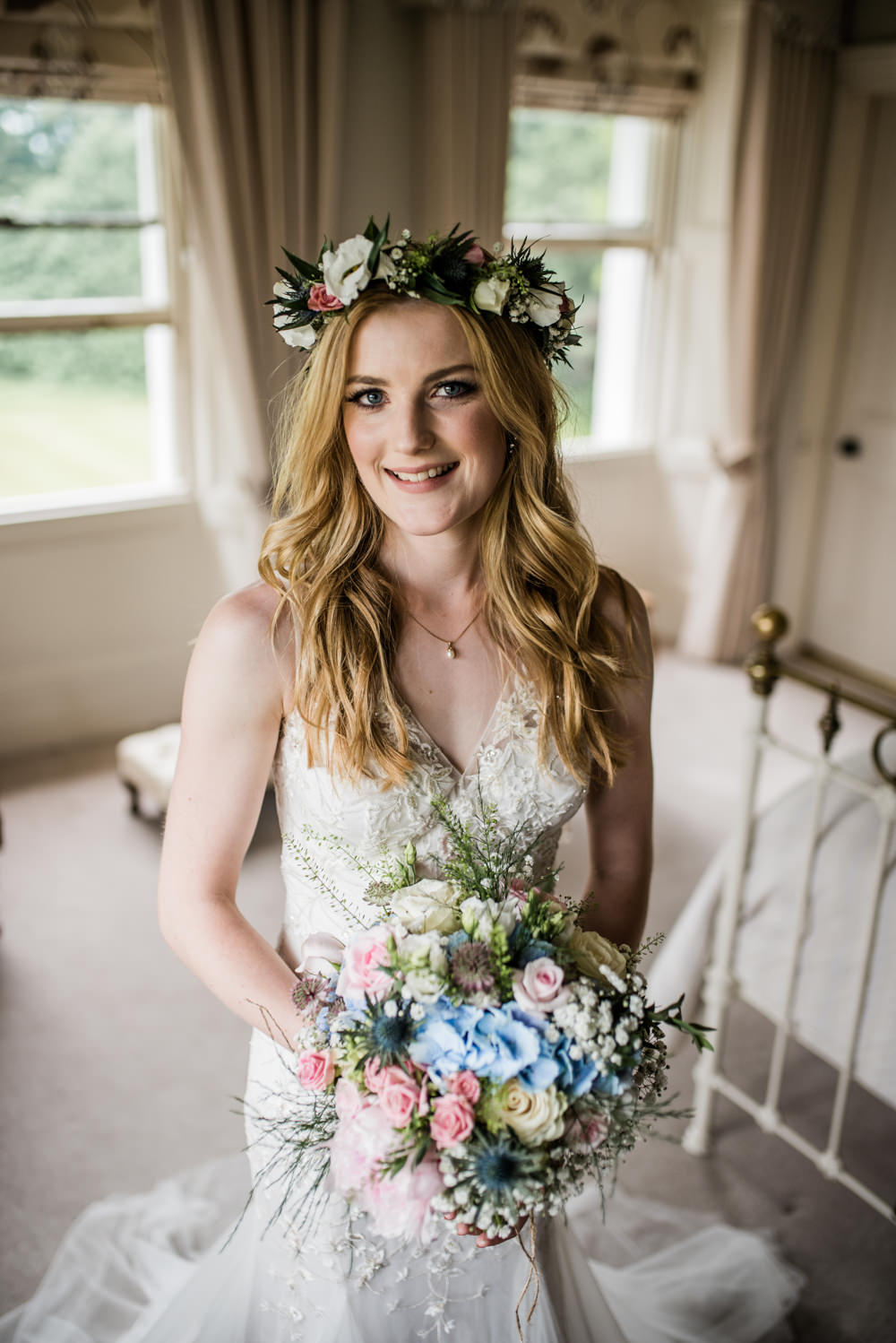 Bride Bridal Hair Long Waves Flower Crown Cleatham Hall Wedding Kazooieloki Photography