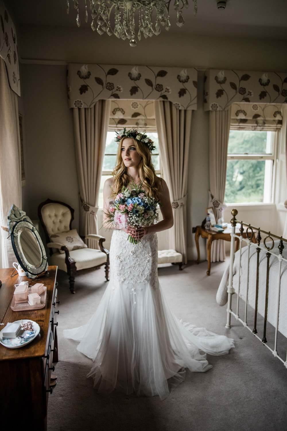 Dress Gown Bride Bridal Tulle Floral Applique Train Straps Embeliished Cleatham Hall Wedding Kazooieloki Photography