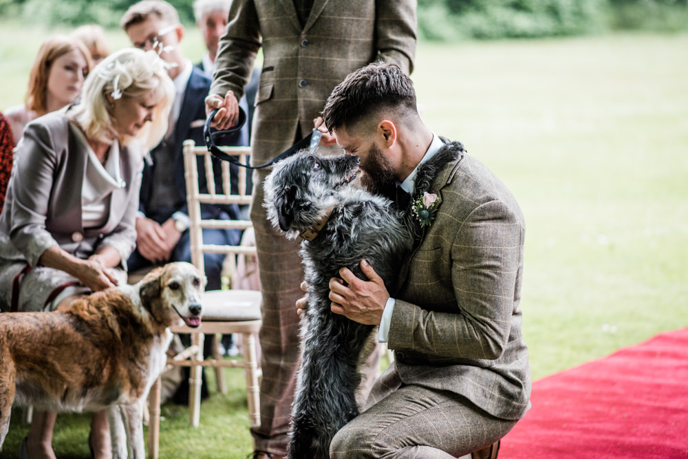 Groom Suit Groomsmen Tweed Green Brown Waistcoat Tie Dog Pet Cleatham Hall Wedding Kazooieloki Photography