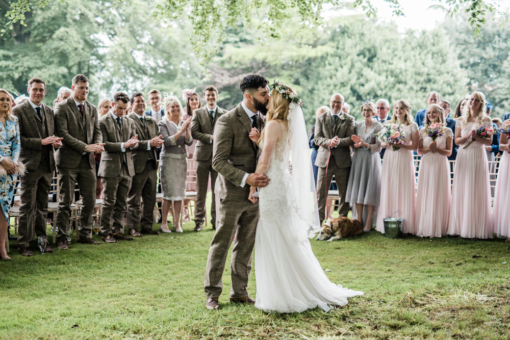 Woodland Outdoor Ceremony Trees Cleatham Hall Wedding Kazooieloki Photography