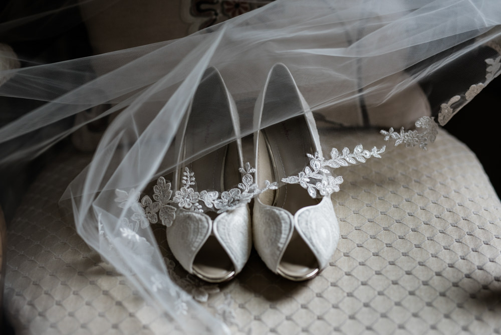 Peep Toe Shoes Bride Bridal Lace Cleatham Hall Wedding Kazooieloki Photography