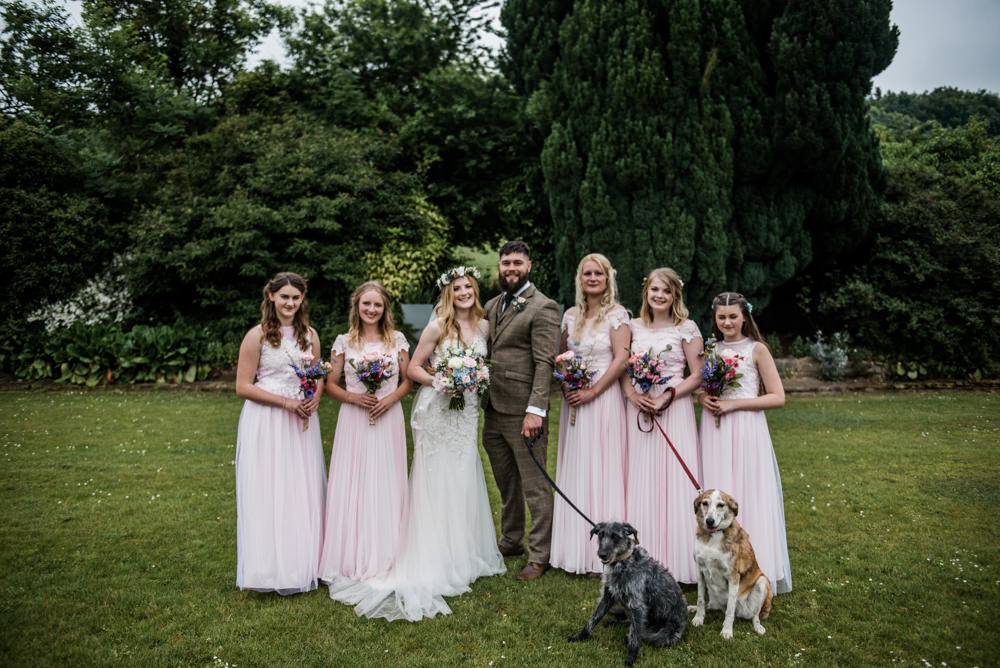 Pale Pink Long Maxi Dresses Bridesmaids Cleatham Hall Wedding Kazooieloki Photography