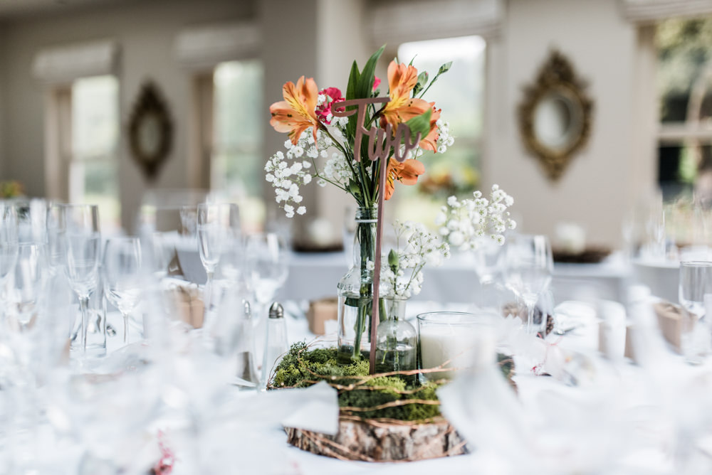 Centrepiece Flowers Log Slice Table Decor Colourful Cleatham Hall Wedding Kazooieloki Photography