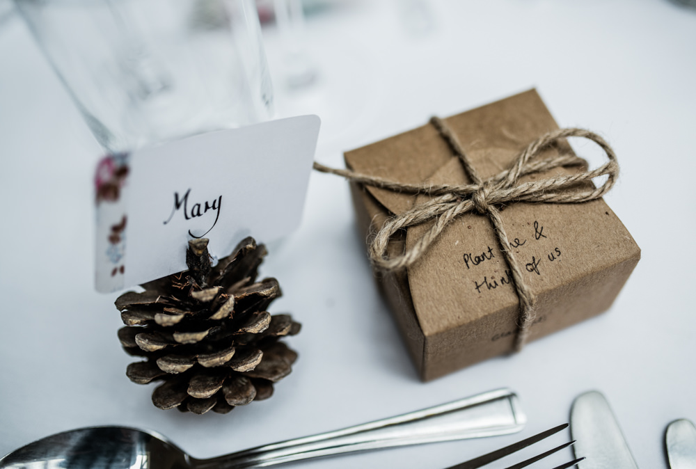 Pine Cone Place Name Table Decor Cleatham Hall Wedding Kazooieloki Photography