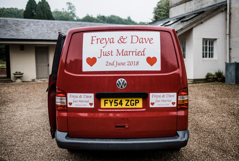 Van Transport Sign Just Married Cleatham Hall Wedding Kazooieloki Photography