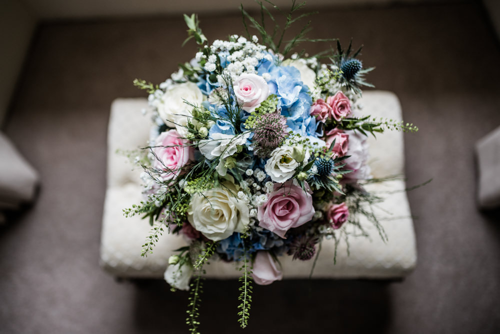 Bouquet Flowers Bride Bridal Pink Blue Rose Thistle Hydrangea Gypsophila Cleatham Hall Wedding Kazooieloki Photography