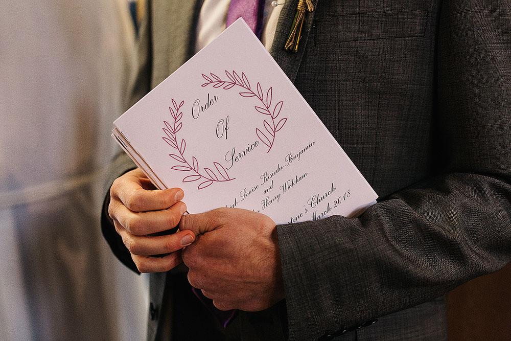 Order of Service Wreath Stationery Cressbrook Hall Wedding Paul Joseph Photography