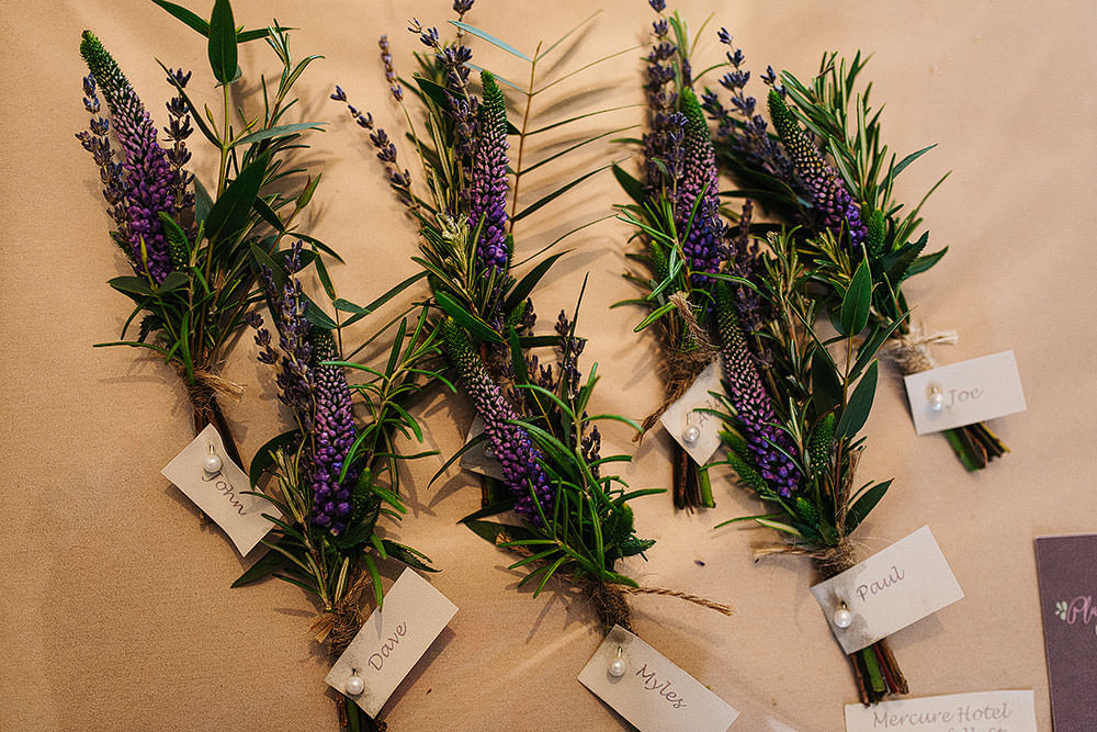 Buttonhole Purple Heather Cressbrook Hall Wedding Paul Joseph Photography