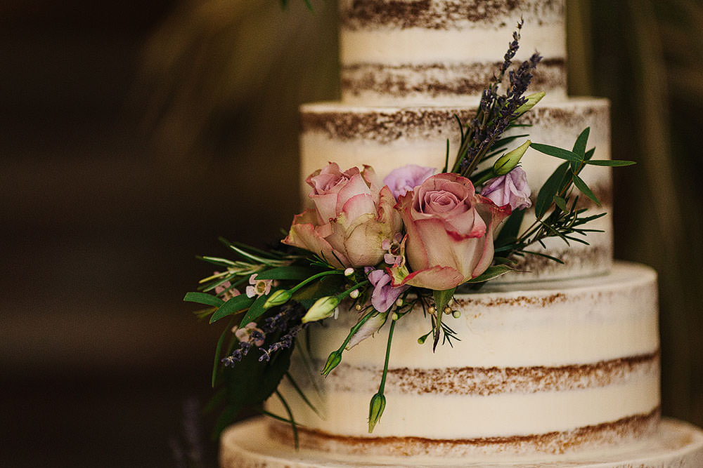 Semi Naked Buttercream Cake Floral Flowers Rose Cressbrook Hall Wedding Paul Joseph Photography