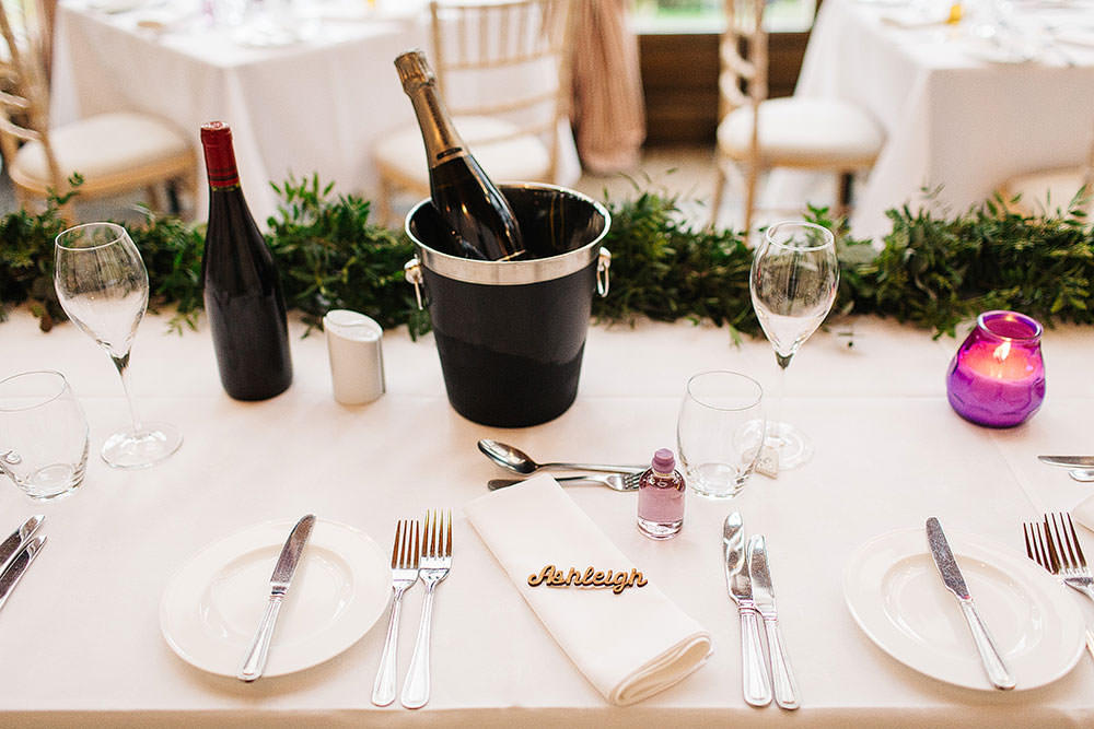 Table Setting Laser Cut Name Place Greenery Foliage Runner Cressbrook Hall Wedding Paul Joseph Photography