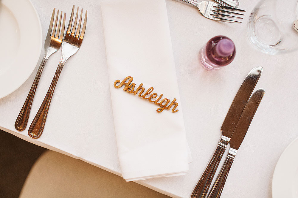 Place Setting Laser Cut Name Place Cressbrook Hall Wedding Paul Joseph Photography