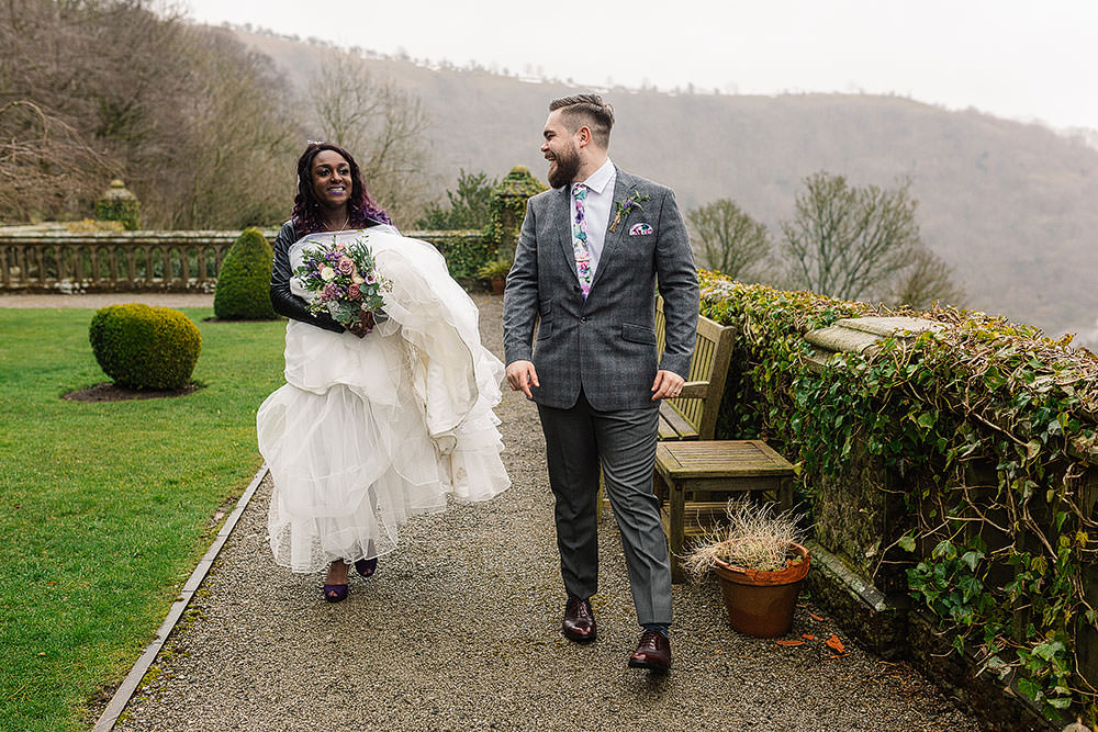 Bride Bridal Sweetheart Neckline A Line Ted Baker Checked Groom Floral Tie Leather Jacket Cressbrook Hall Wedding Paul Joseph Photography