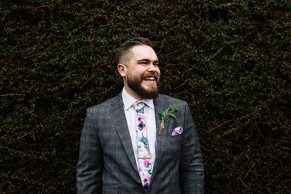 Groom Ted Baker Checked Suit Floral Tie Cressbrook Hall Wedding Paul Joseph Photography