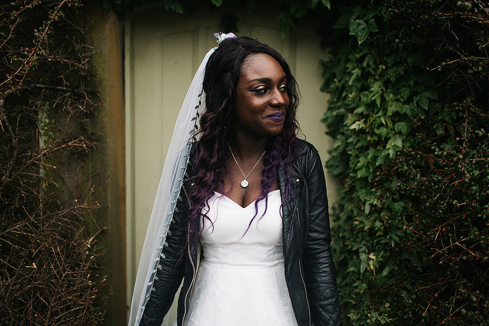 Bride Bridal Sweetheart Neckline Leather Jacket Veil Cressbrook Hall Wedding Paul Joseph Photography