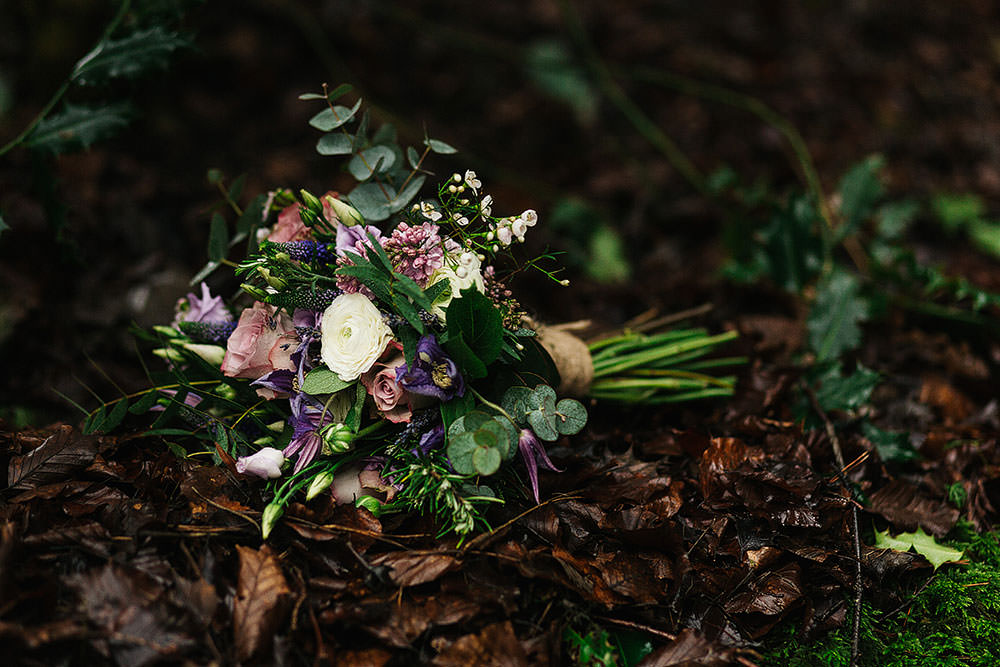 Bride Bridal Bouquet Purple Wildflower Eucalyptus Cressbrook Hall Wedding Paul Joseph Photography