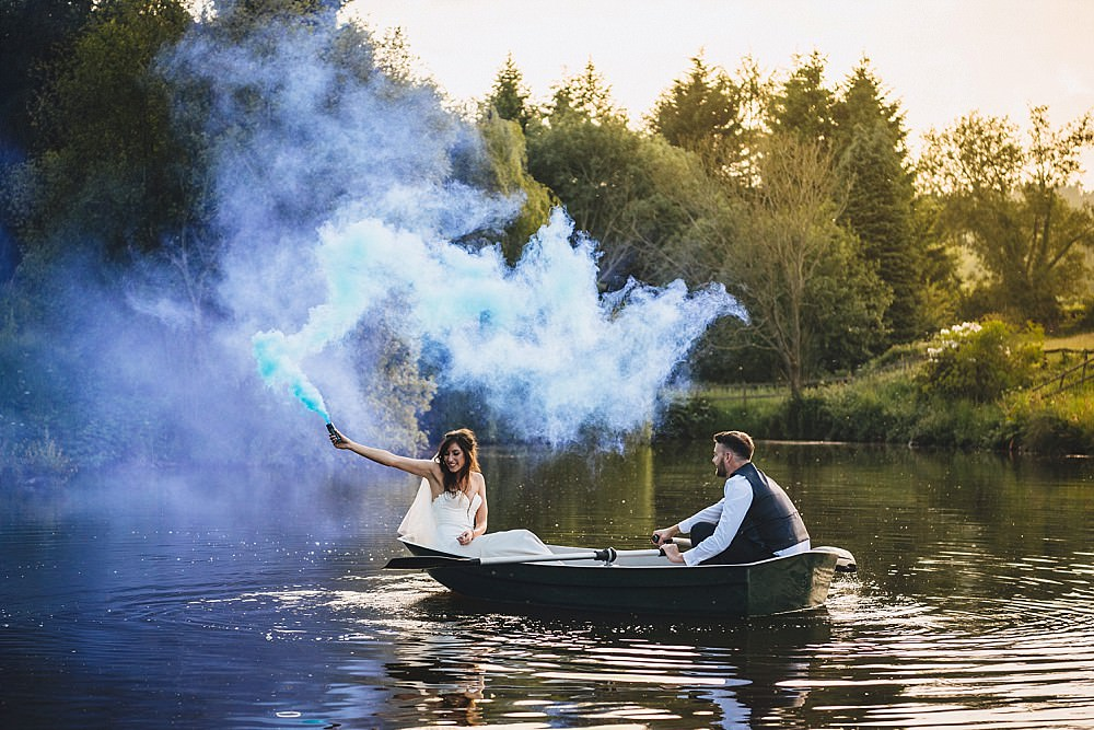 Smoke Bomb Lake Portraits Photos DIY Home Barn Tipi Wedding Marta May Photography