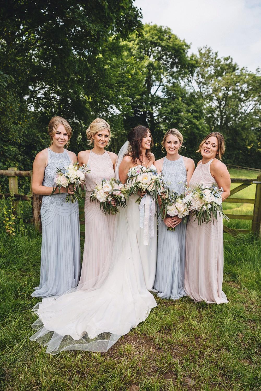 Bridesmaid Dresses Long Dress Maxi Pastel Pink Blue DIY Home Barn Tipi Wedding Marta May Photography