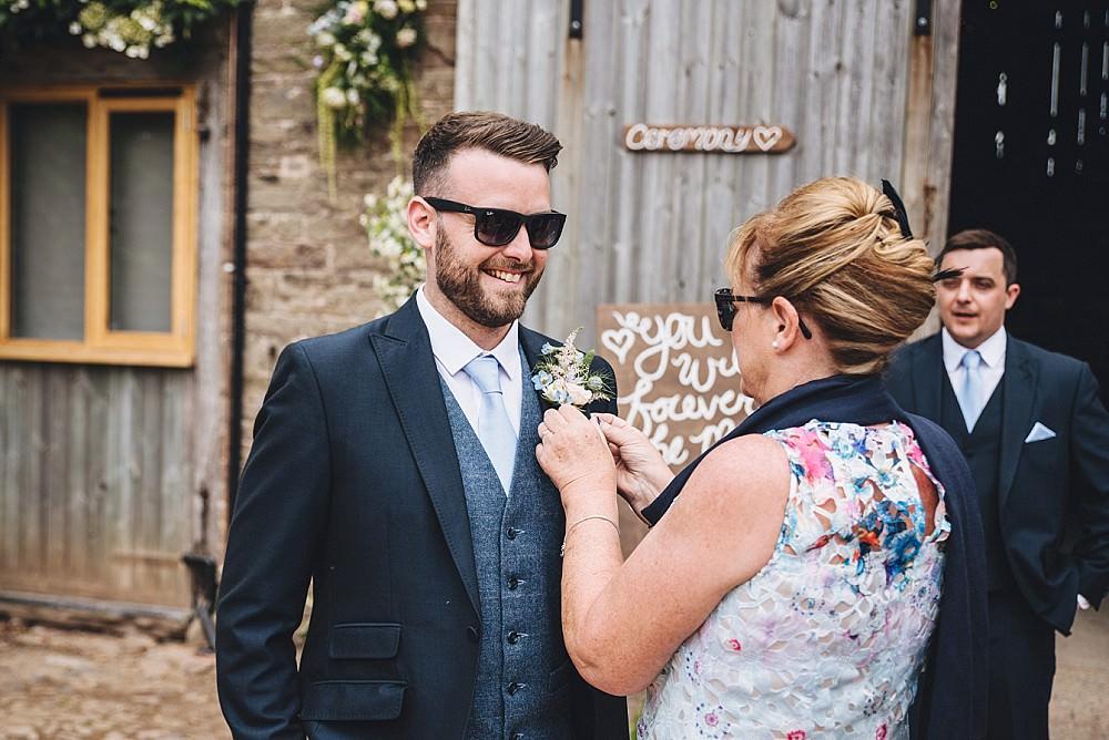 Groom Suit Navy Tweed Waistcoat Sunglasses DIY Home Barn Tipi Wedding Marta May Photography