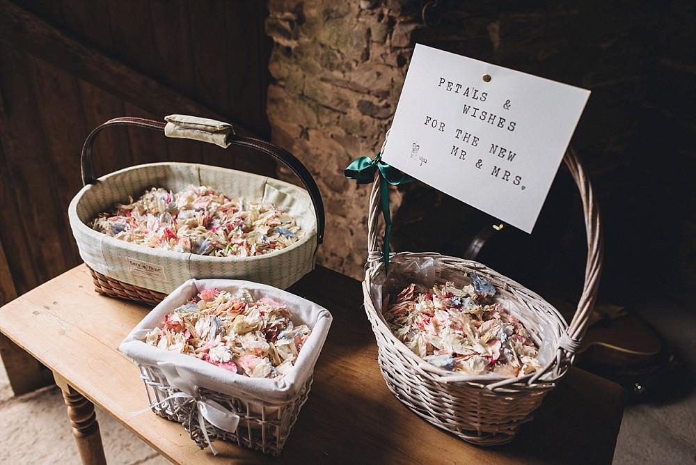 Confetti Baskes Signs Petals DIY Home Barn Tipi Wedding Marta May Photography
