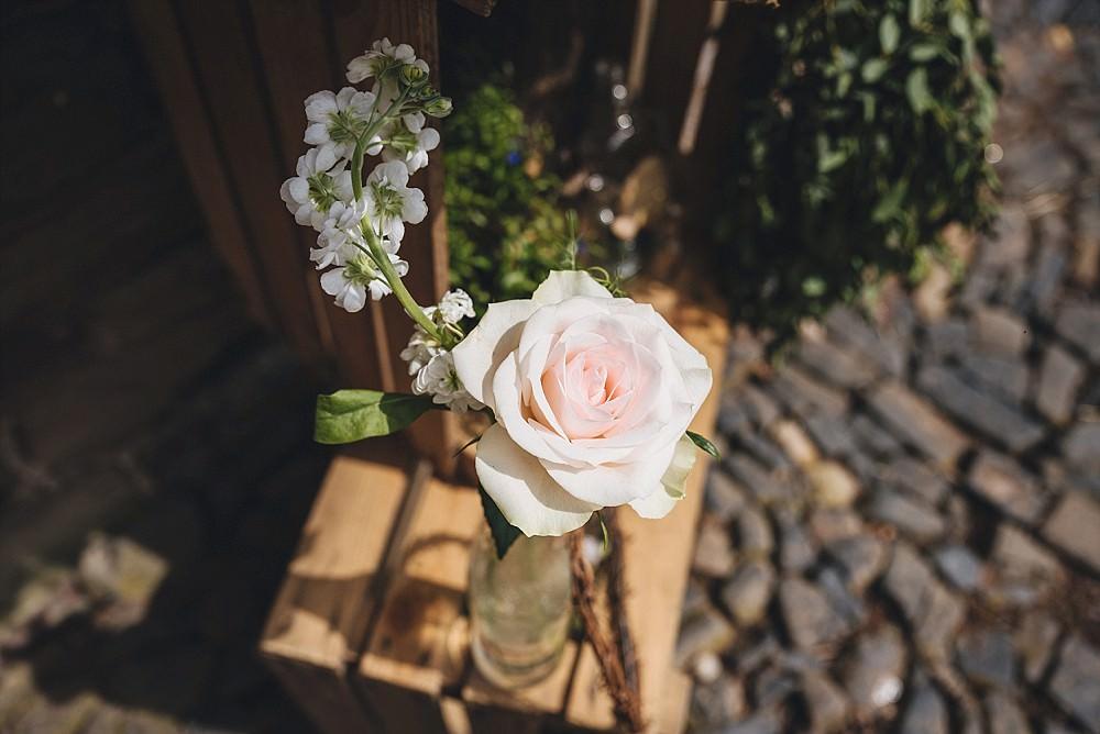 Rose Bottle Flowers DIY Home Barn Tipi Wedding Marta May Photography