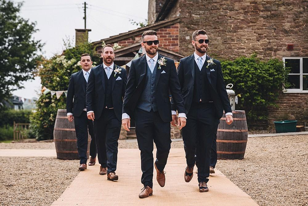 Groom Suit Navy Tweed Waistcoat Sunglasses Groomsmen DIY Home Barn Tipi Wedding Marta May Photography