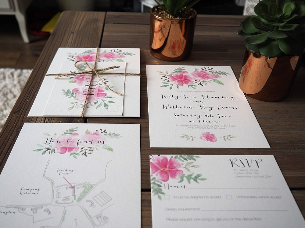 Floral Stationery Twine Invite Invitations DIY Home Barn Tipi Wedding Marta May Photography