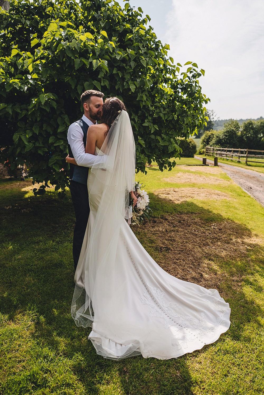 Dress Gown Bride Bridal Train Strapless Bodice Paloma Blanca Pearls Embroidery Veil DIY Home Barn Tipi Wedding Marta May Photography