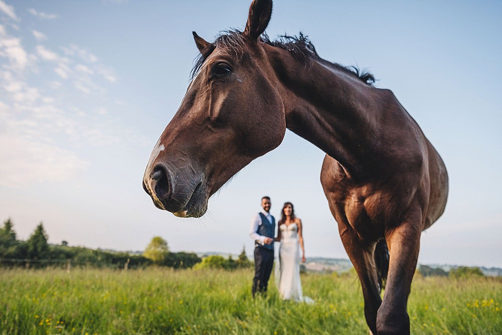 Horse Bride Groom Portrait Photos DIY Home Barn Tipi Wedding Marta May Photography