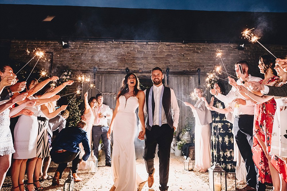 Sparkler Send Off Exit DIY Home Barn Tipi Wedding Marta May Photography