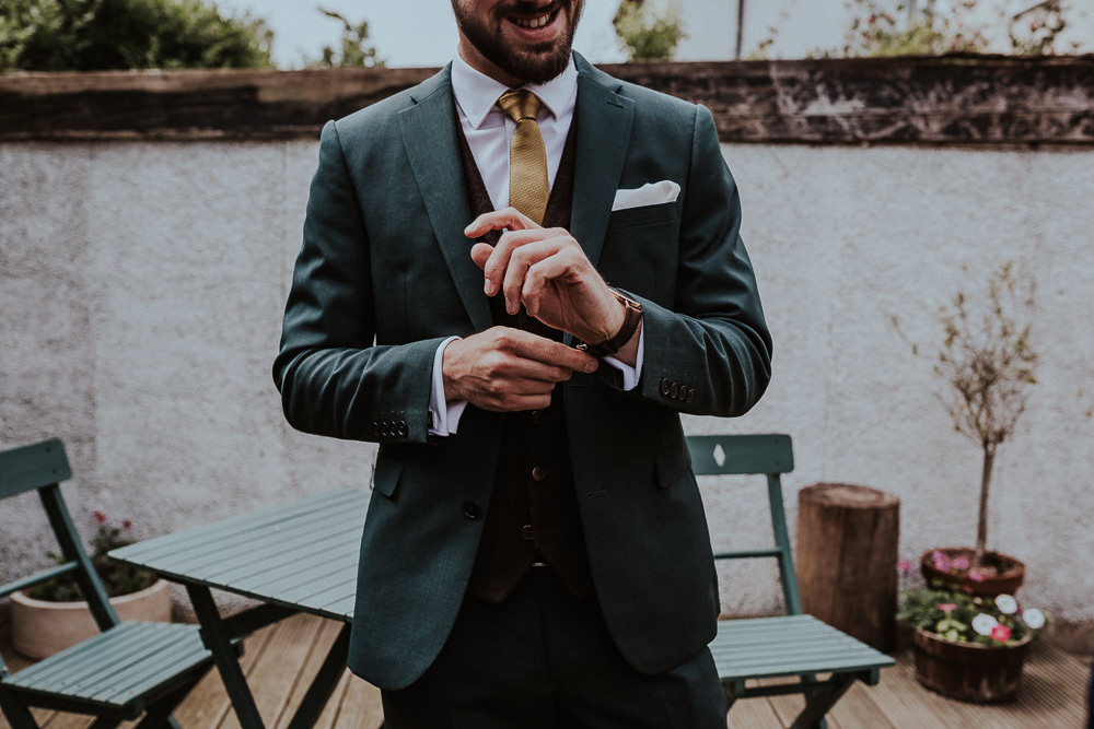 Groom Suit Grey Mustard Tie Faversham Wedding Leeds Steven Haddock Photography