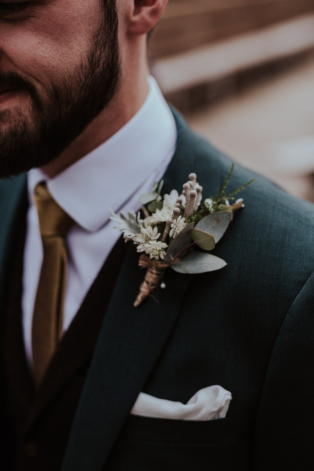 Groom Suit Grey Mustard Tie Buttonhole Flowers White Greenery Faversham Wedding Leeds Steven Haddock Photography