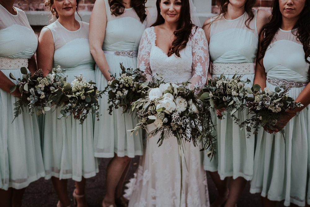 Bridesmaids Short Green Dresses Bouquets Greenery Flowers Peony Fern Faversham Wedding Leeds Steven Haddock Photography