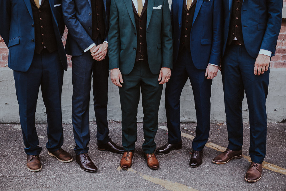 Groom Suit Grey Mustard Tie Groomsmen Faversham Wedding Leeds Steven Haddock Photography
