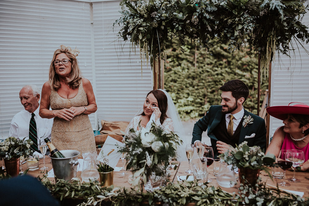 Top Table Flowers Greenery Foliage Backdrop Metal Frame Faversham Wedding Leeds Steven Haddock Photography