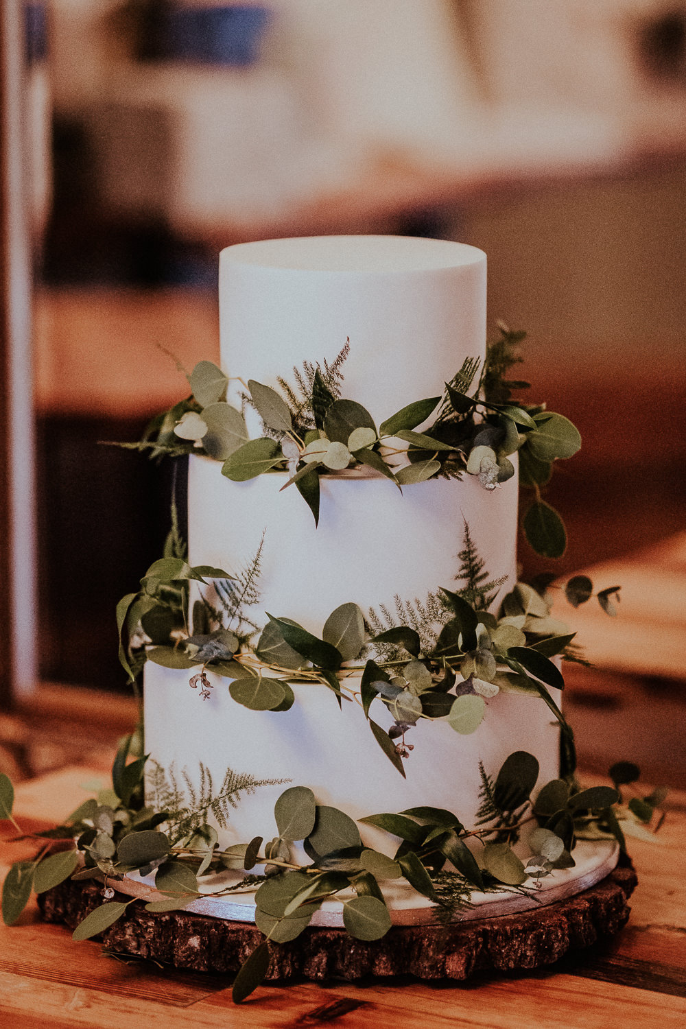 Modern Cake Greenery Foliage Iced White Faversham Wedding Leeds Steven Haddock Photography