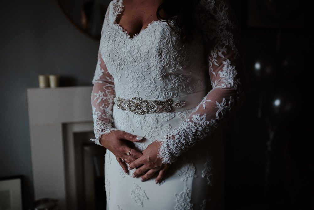 Bride Bridal Lace Gown Train Sleeves Long Belt Faversham Wedding Leeds Steven Haddock Photography