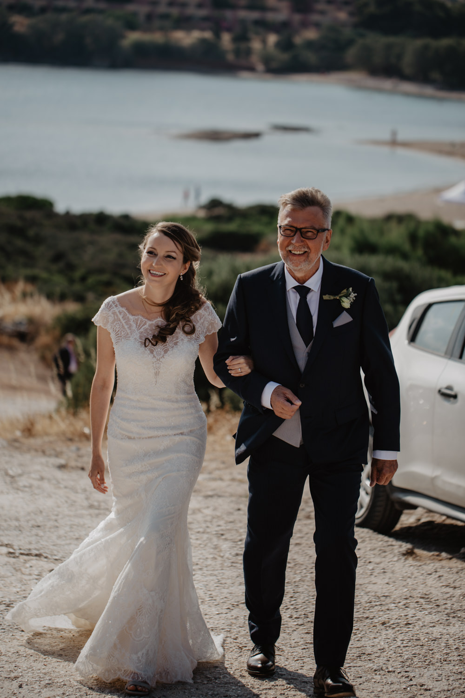Bride Bridal Fishtail Lace Cap Sleeve Sweetheart Dress Gown Greece Destination Wedding Elena Popa Photography
