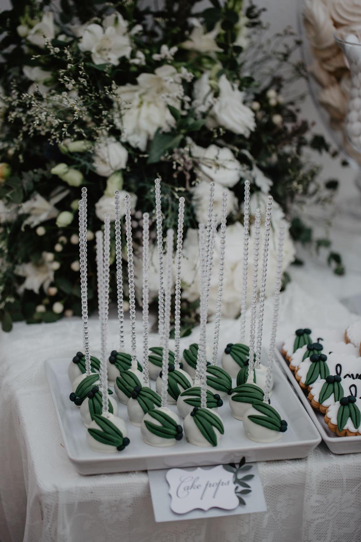 Olive Leaf Cake Pops Greece Destination Wedding Elena Popa Photography